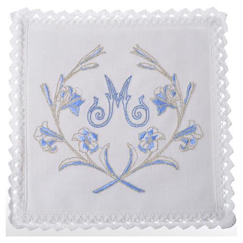 Servizio da altare 100% lino simbolo mariano con decori 1