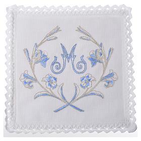 Conjunto de alfaia litúrgica 100% linho símbolo mariano com decoro s1