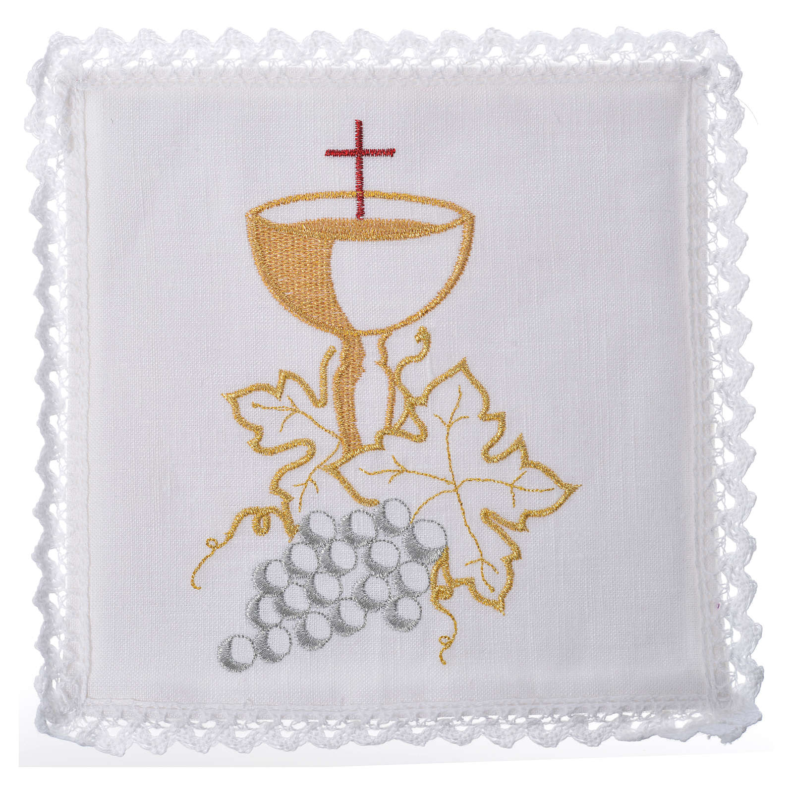 Altar linens set, with chalice and grapes 4
