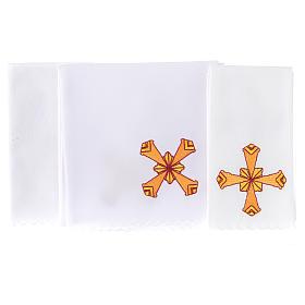 Set linge d'autel 4 pcs croix jaune s2