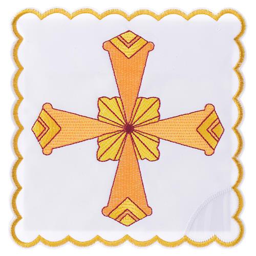 Set linge d'autel 4 pcs croix jaune 1