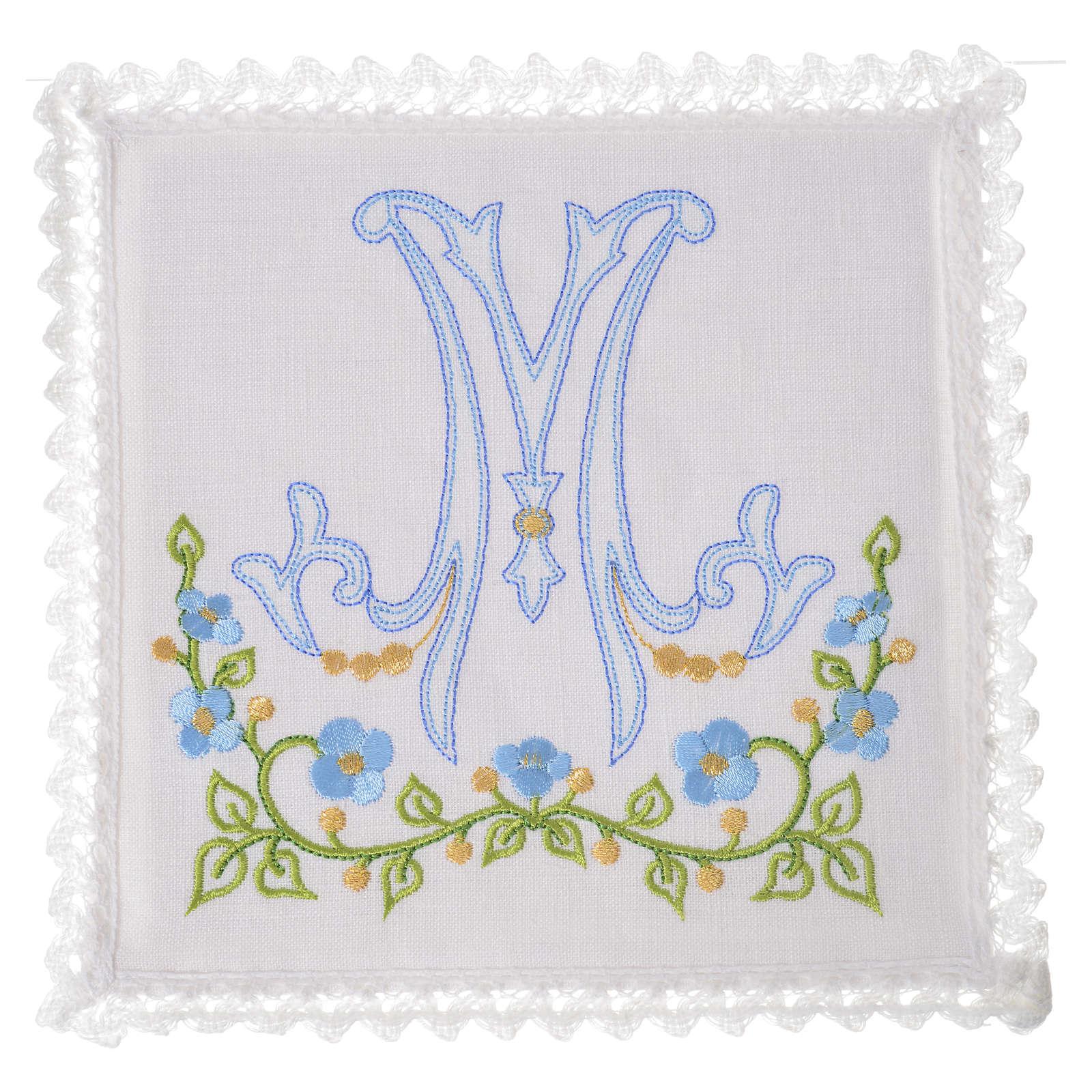 Altar linens set, 100% linen with Marian M 4