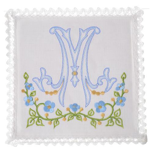 Altar linens set, 100% linen with Marian M 1
