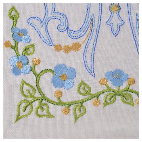 Altar linens set, 100% linen with Marian M 2