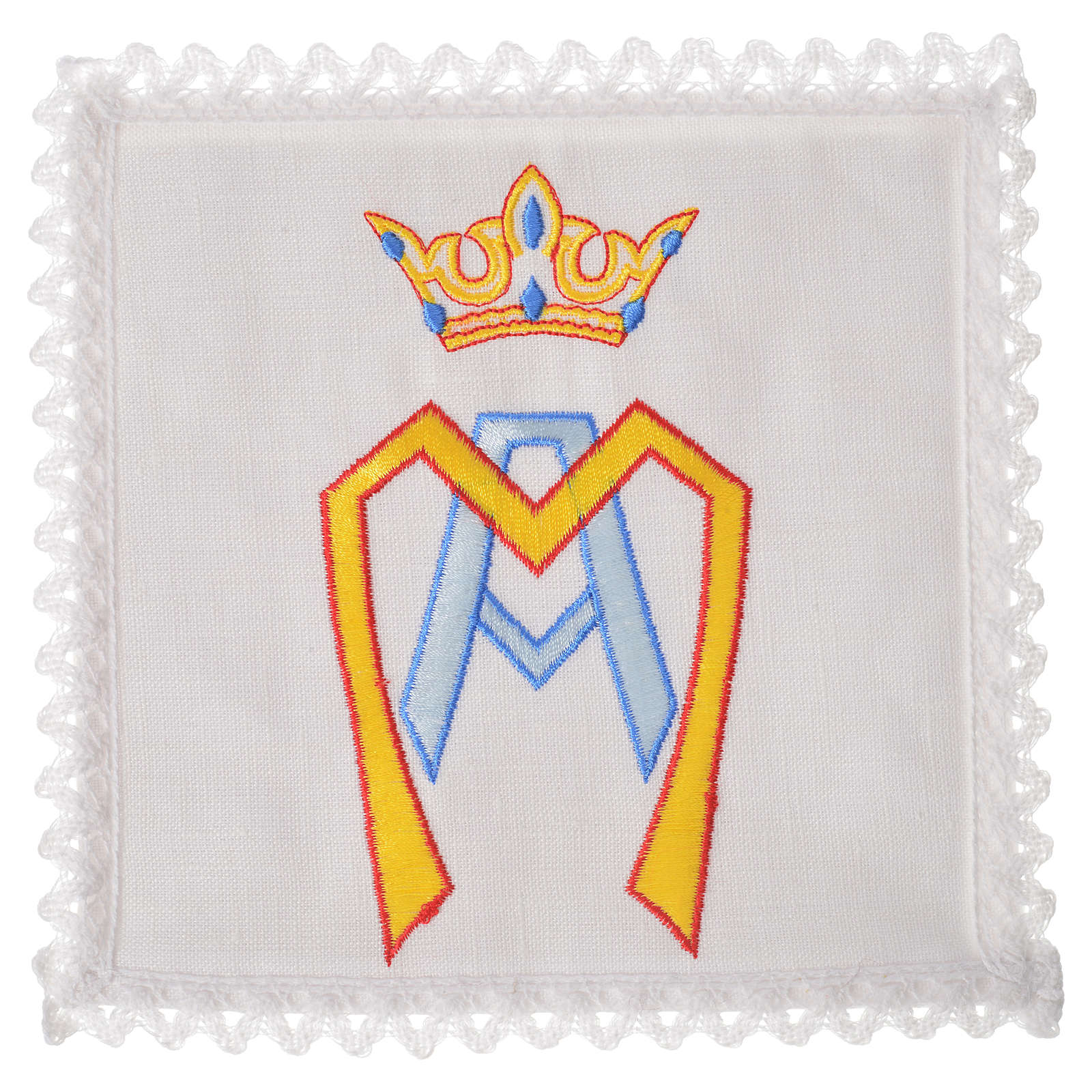 Altar linens set, 100% linen with stylised Marian symbol 4