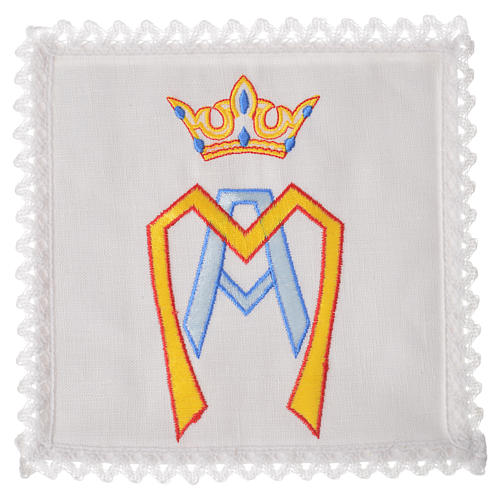 Altar linens set, 100% linen with stylised Marian symbol 1