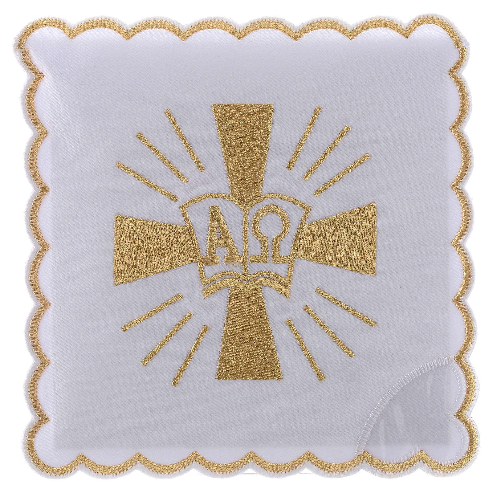 Servizio da altare cotone croce simboli Alfa e Omega 4