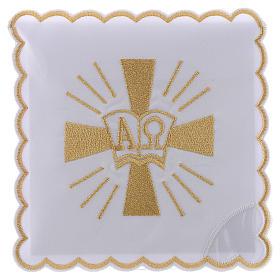 Servizio da altare cotone croce simboli Alfa e Omega s1