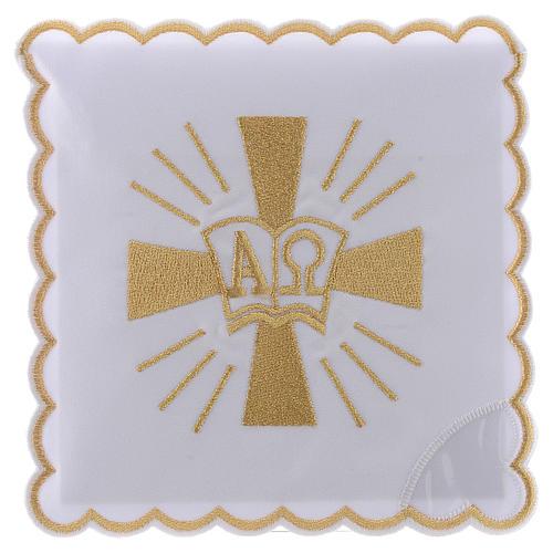 Servizio da altare cotone croce simboli Alfa e Omega 1