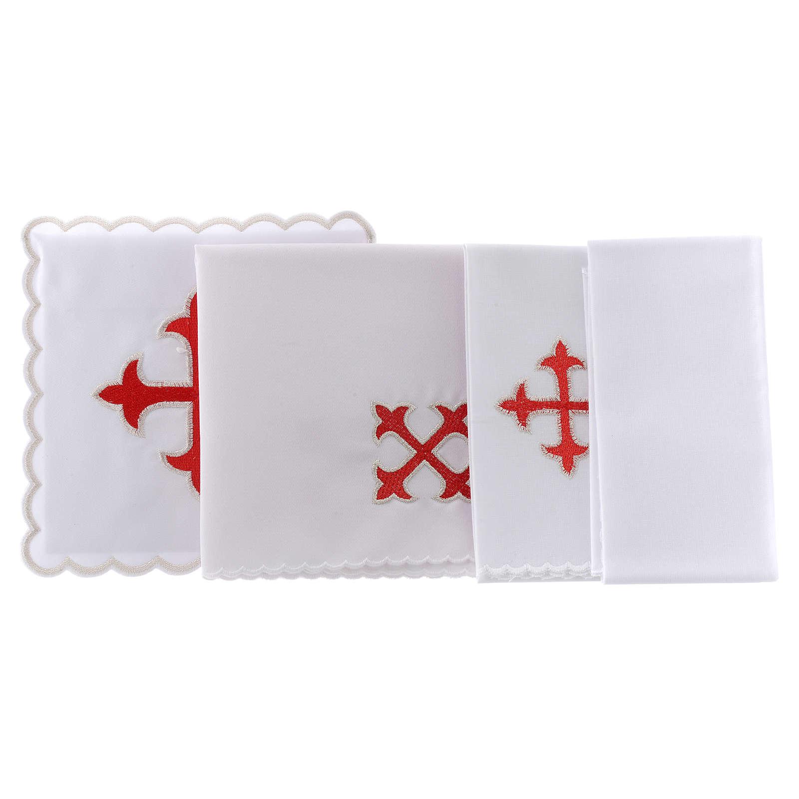 Service linge autel coton croix baroque or rouge 4