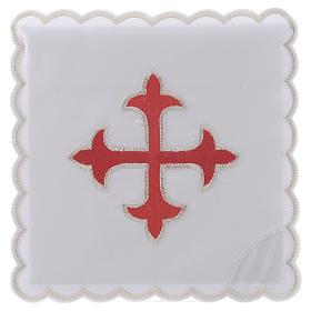 Service linge autel coton croix baroque or rouge s1