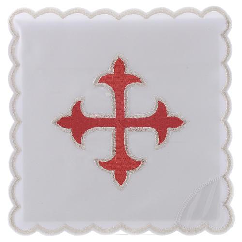 Service linge autel coton croix baroque or rouge 1