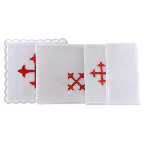 Service linge autel coton croix baroque or rouge 2