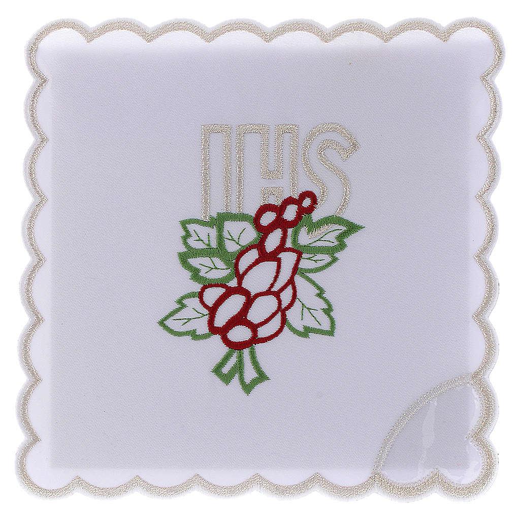 Service linge autel coton broderie raisin feuilles IHS 4