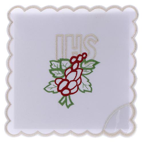 Service linge autel coton broderie raisin feuilles IHS 1