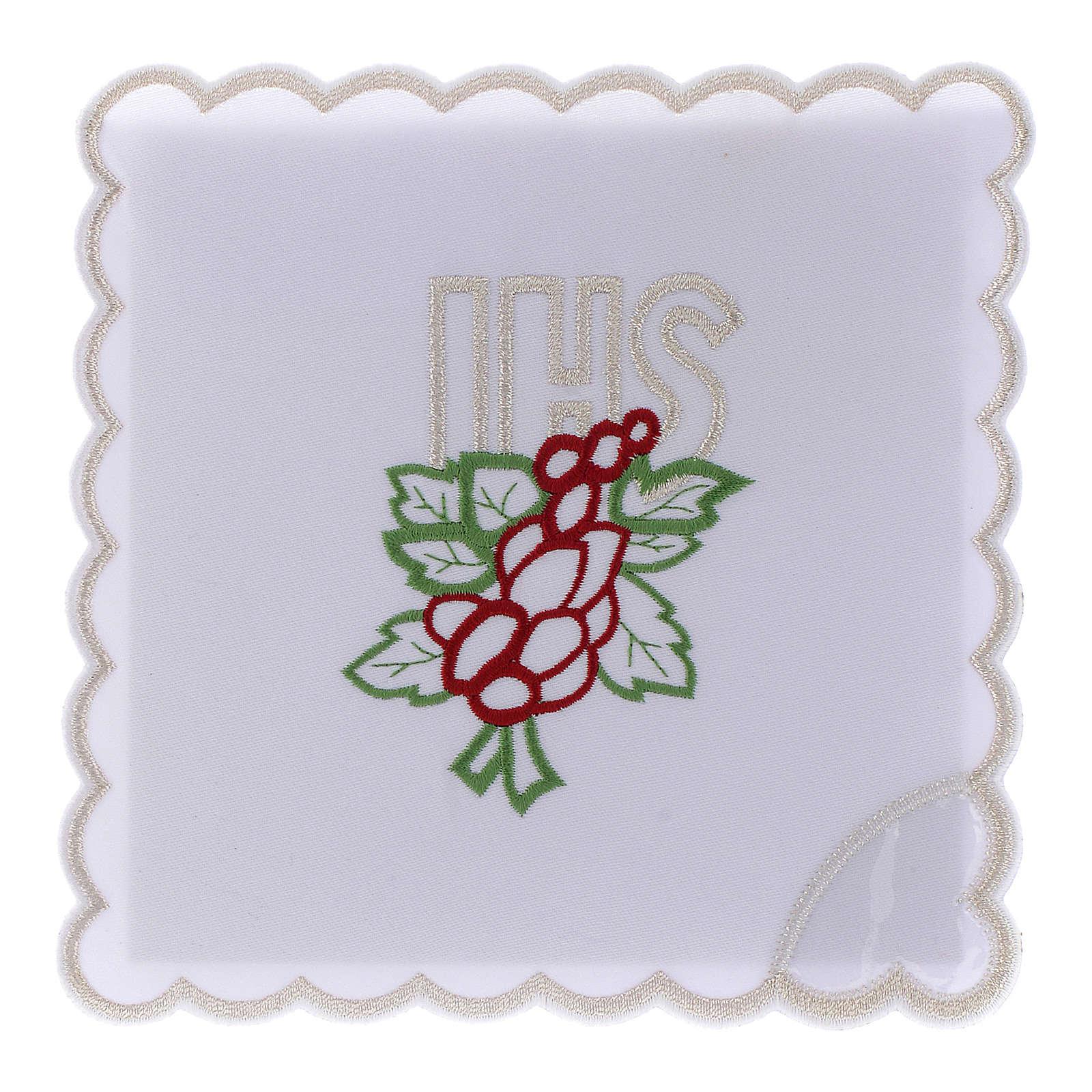 Servizio da altare cotone ricamo uva foglie JHS 4