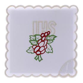 Servizio da altare cotone ricamo uva foglie JHS s1