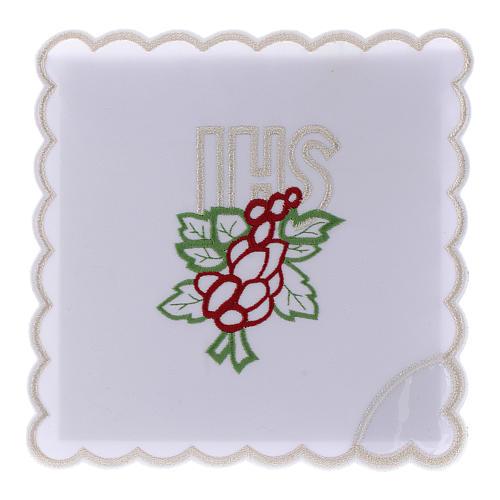 Servizio da altare cotone ricamo uva foglie JHS 1