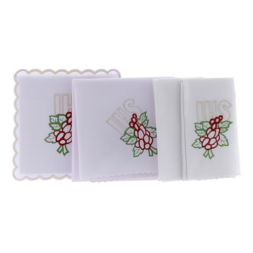 Conjunto de alfaia algodão bordado uva folhas IHS 2