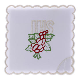 Altar linen embroidery grapes leaves JHS, cotton s1