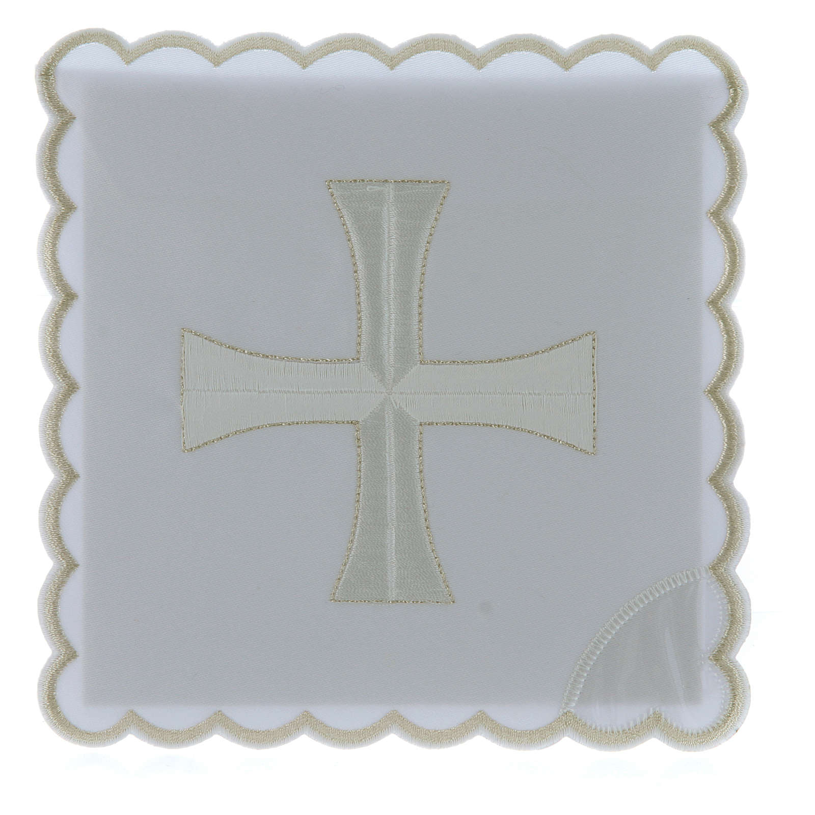 Altar linen white & silver cross embroided, cotton 4