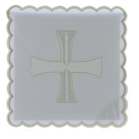 Altar linen white & silver cross embroided, cotton s1