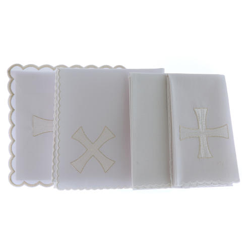 Altar linen white & silver cross embroided, cotton 2