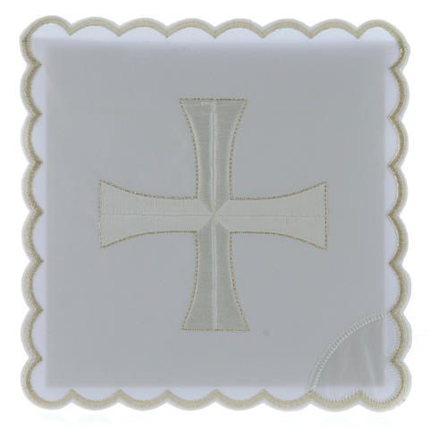 Service linge autel coton broderie croix blanche argent 1