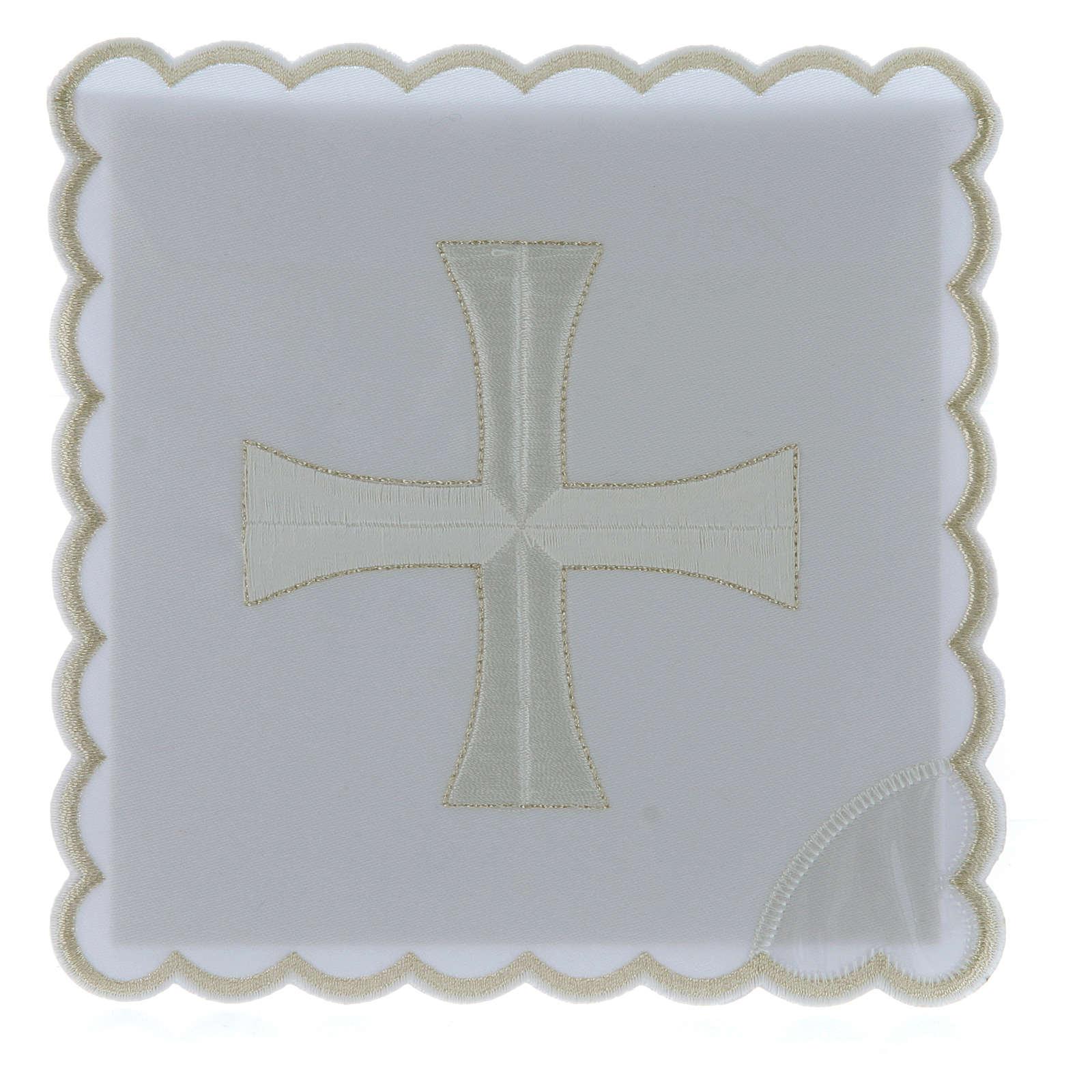 Servizio da altare cotone ricamo croce bianca argento 4