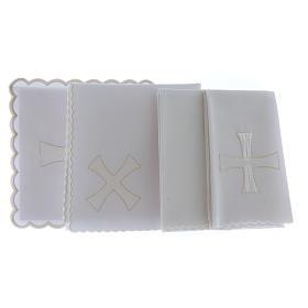 Servizio da altare cotone ricamo croce bianca argento s2