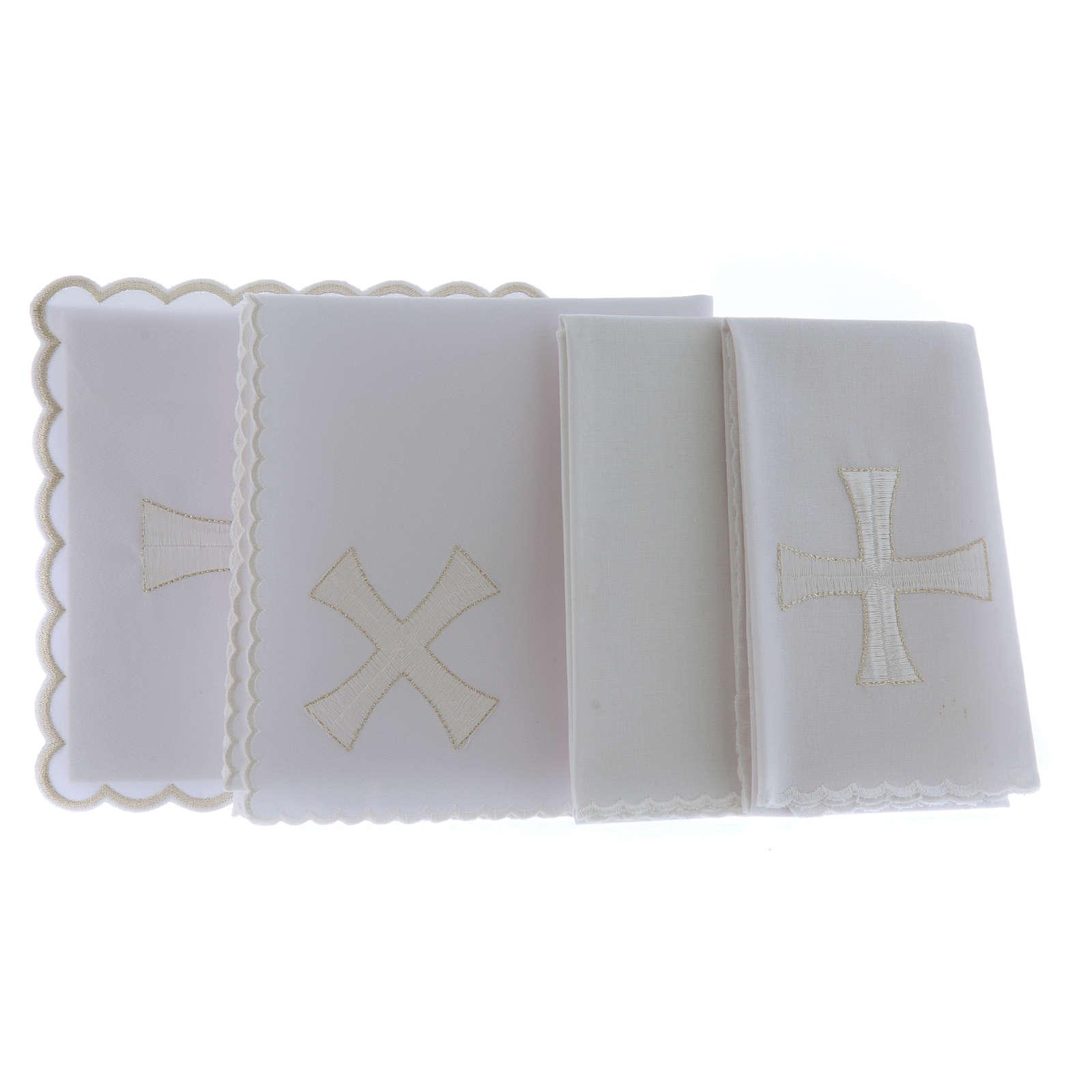 Conjunto de alfaia algodão bordado cruz branca prata 4