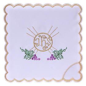 Service linge autel coton grappes raisin feuilles hostie symbole IHS s1