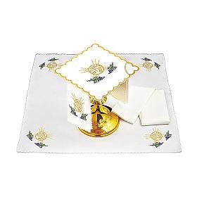 Service linge autel coton grappes raisin feuilles hostie symbole IHS s2