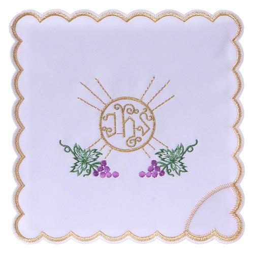 Service linge autel coton grappes raisin feuilles hostie symbole IHS 1