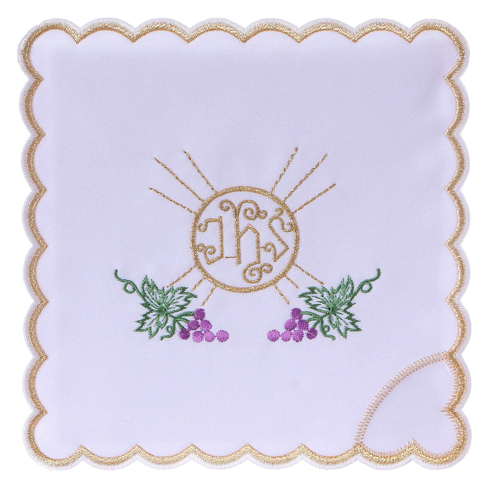 Servizio da altare cotone grappoli uva foglie ostia simbolo JHS 4