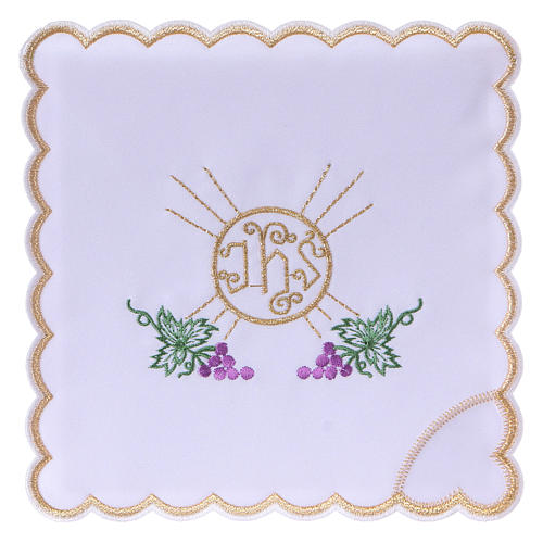 Servizio da altare cotone grappoli uva foglie ostia simbolo JHS 1