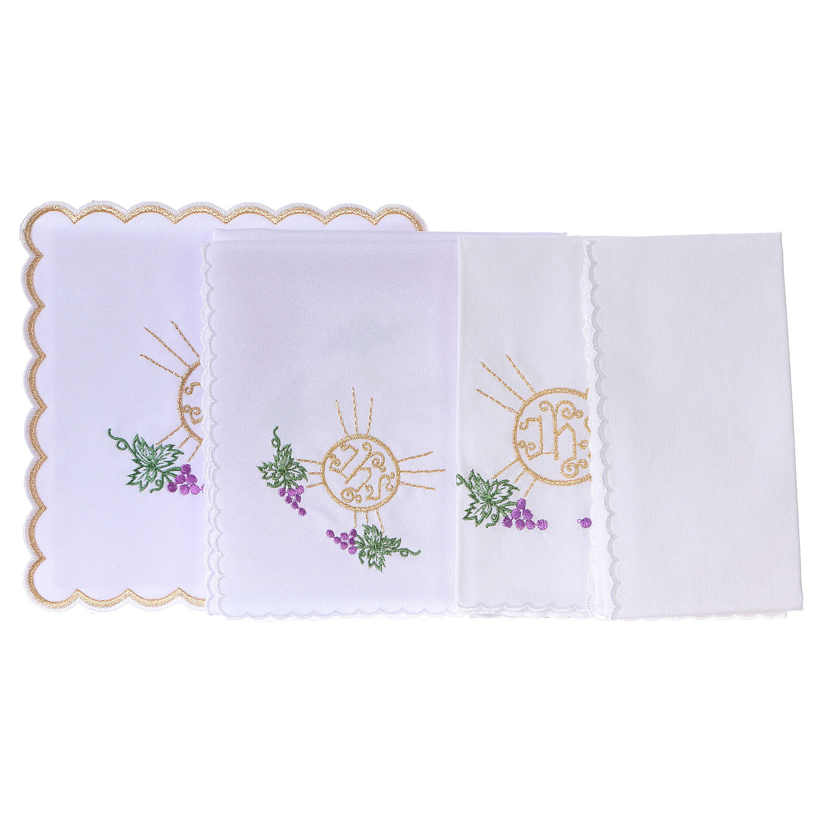 Altar linen bunch of grapes leaves host and JHS, cotton 4