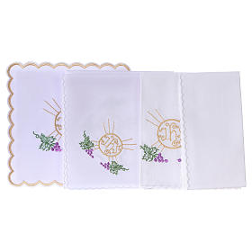 Altar linen bunch of grapes leaves host and JHS, cotton s3