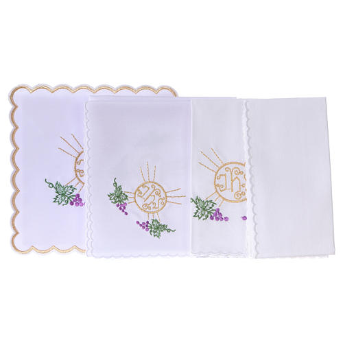 Altar linen bunch of grapes leaves host and JHS, cotton 3