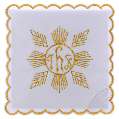Altar linen golden embroideries geometrical figures & JHS symbol, cotton 1