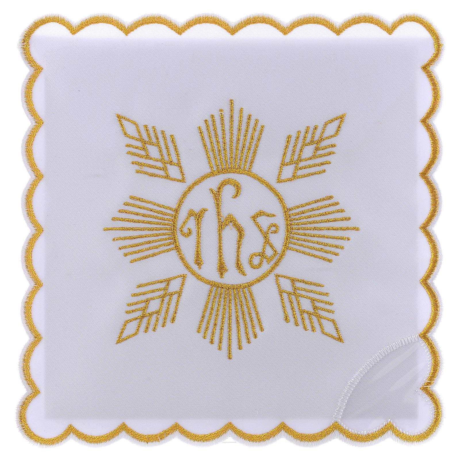 Conjunto de alfaia algodão bordado dourado motivo geométrico símbolo IHS 4