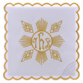 Conjunto de alfaia algodão bordado dourado motivo geométrico símbolo IHS s1
