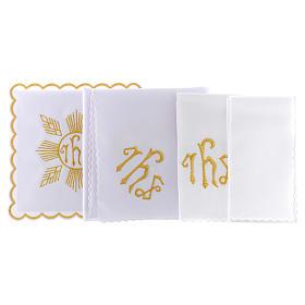 Conjunto de alfaia algodão bordado dourado motivo geométrico símbolo IHS s2