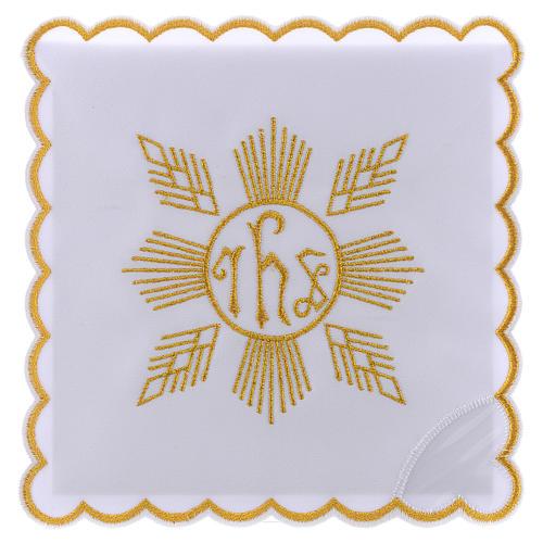 Conjunto de alfaia algodão bordado dourado motivo geométrico símbolo IHS 1