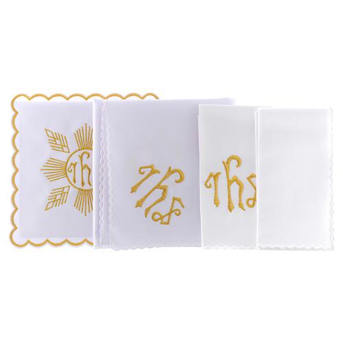 Conjunto de alfaia algodão bordado dourado motivo geométrico símbolo IHS 2