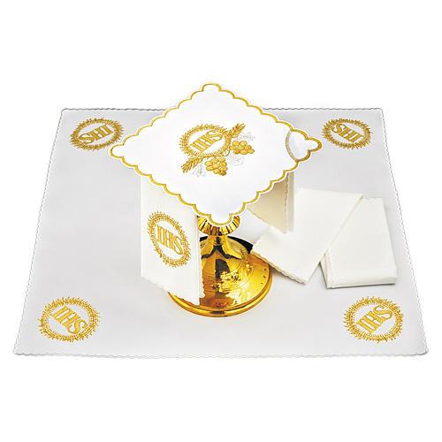 Servizio da altare cotone ricami dorati grappoli uva spighe JHS 1