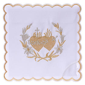 Altar linens: Altar linen flowers and Sacred Heart of Jesus, cotton