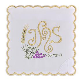 Altar linen spikes vine leaf & JHS, cotton s1