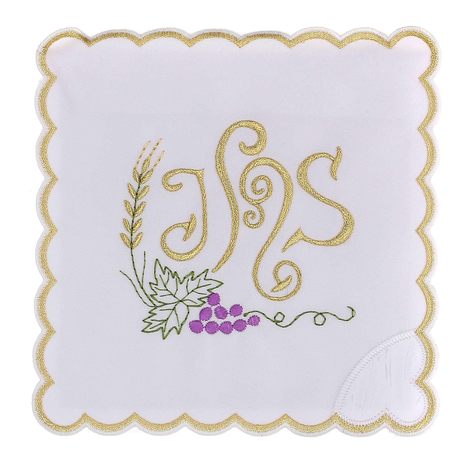 Altar linen spikes vine leaf & JHS, cotton 4