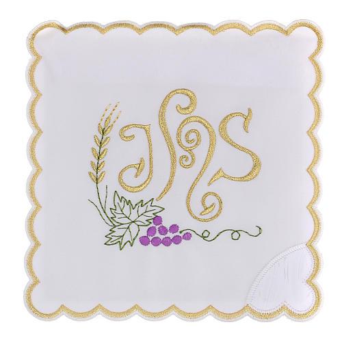 Altar linen spikes vine leaf & JHS, cotton 1